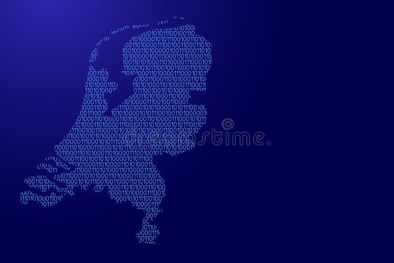 Schéma néerlandais d'abrégé sur carte de bleu bina de ceux et de zéros illustration stock