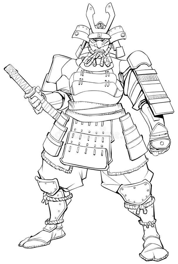 Schéma samouraï guerrier illustration de vecteur
