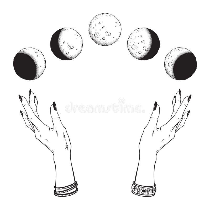 Schéma tiré par la main et phases de lune de travail de point dans des mains de sorcière d'isolement Tatouage instantané chic de  illustration libre de droits