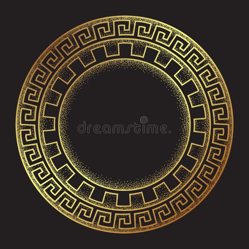 Schéma tiré par la main ornanent de style méandre grec antique d'or et le cadre rond de travail de point conçoivent l'illustratio illustration libre de droits