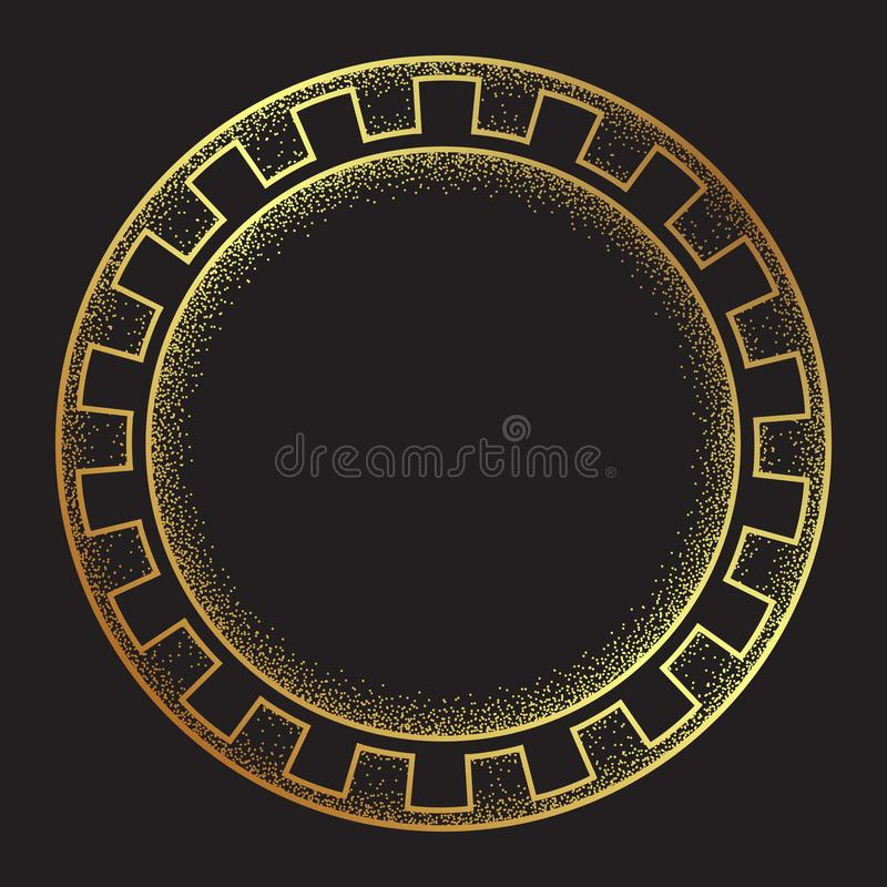 Schéma tiré par la main ornanent de style méandre grec antique d'or et le cadre rond de travail de point conçoivent l'illustratio illustration de vecteur