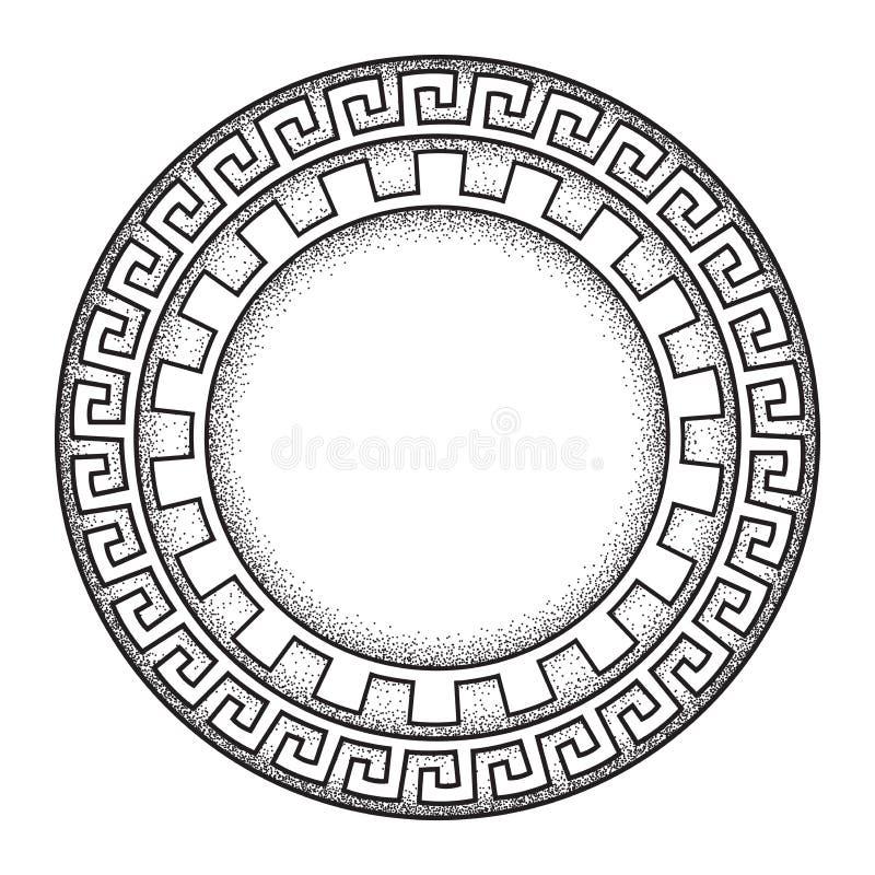 Schéma tiré par la main ornanent méandre grec antique de style et le cadre rond de travail de point conçoivent l'illustration de  illustration libre de droits