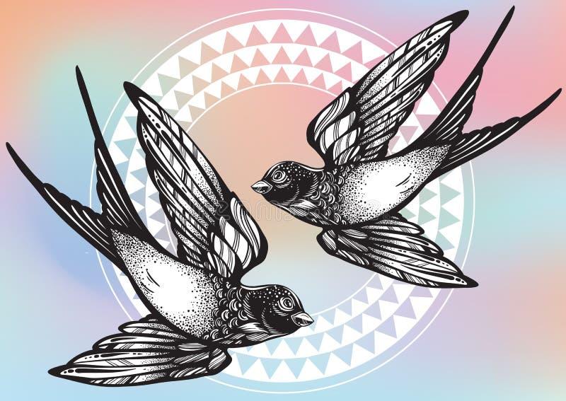 Schön ausführliche Weinleseillustration mit Fliegenschwalbenvögeln über Stammes- geometrischem Muster Vektorgrafik lokalisiert stock abbildung