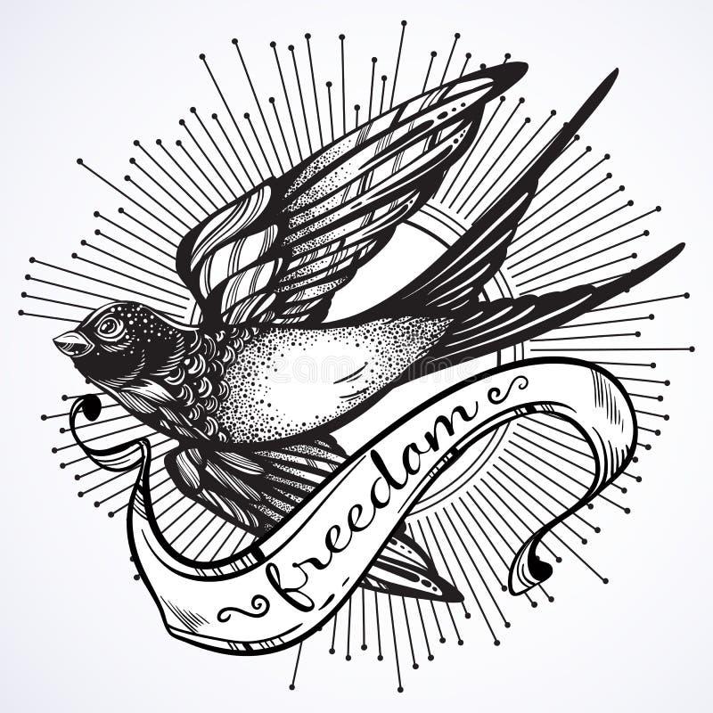 Schön ausführliche Weinleseillustration mit Fliegenschwalbenvogel Grafische Schablone Vektorgrafik lokalisiert Elegante Tätowieru vektor abbildung