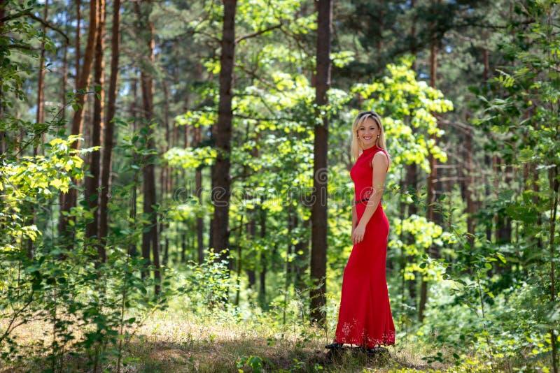 Schön, Blondineporträt auf einem Waldhintergrund Kopieren Sie Platz lizenzfreies stockfoto