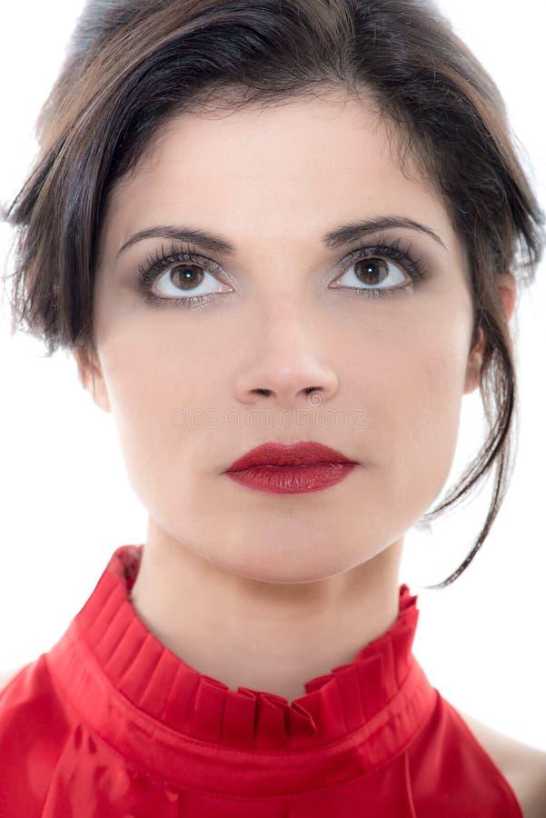 Schön, ernstes kaukasisches Frauenporträt oben schauend lizenzfreie stockfotos
