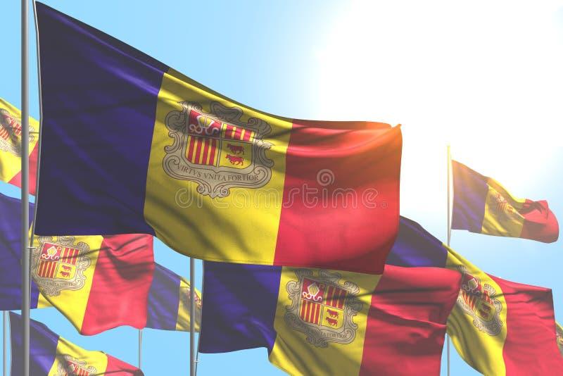 Schön irgendeine Illustration der Gelegenheitsflagge 3d - viele Andorra-Flaggen sind Welle auf Hintergrund des blauen Himmels stock abbildung