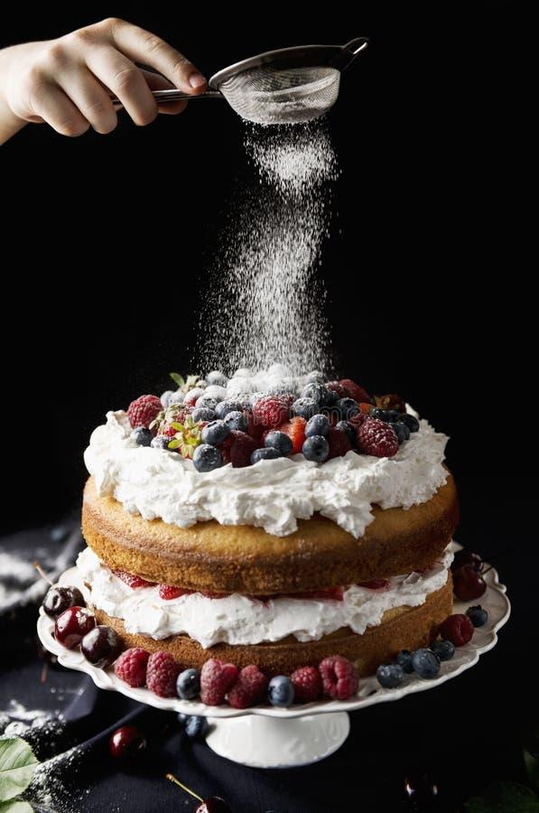 Schön, nackter Kuchen der Frucht auf einer dunklen Tischdecke stockbilder