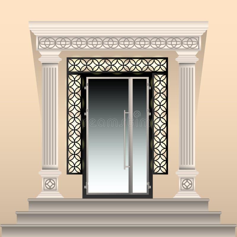 Schön verzierter Eingang zum Gebäude Glastür, kopierter Bogen und Spalten des Gipsstucks, Steinportal lizenzfreie abbildung