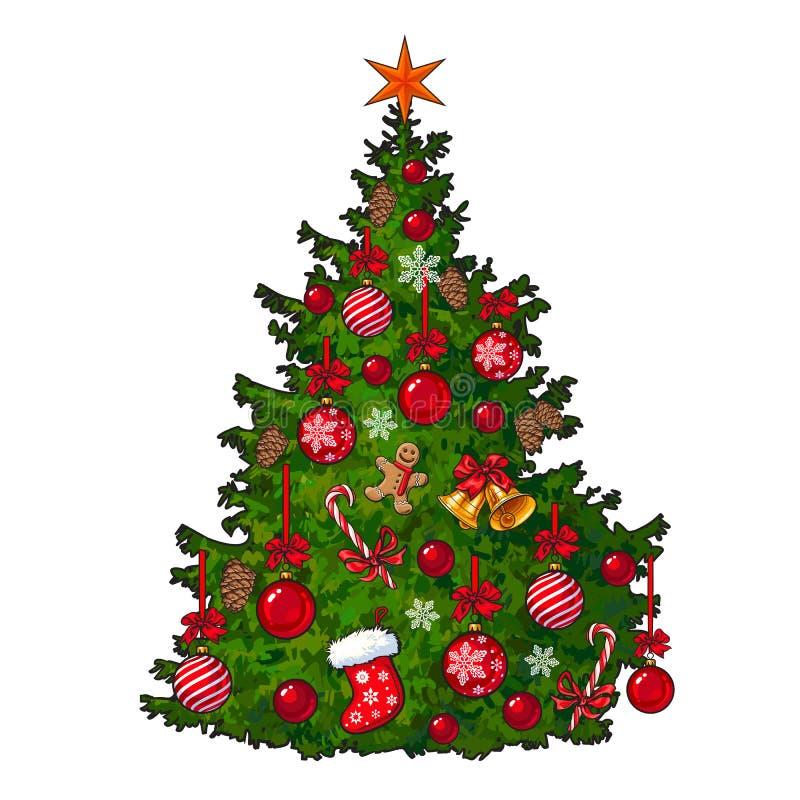 Schön verzierter Weihnachtsbaum lokalisiert auf weißem Hintergrund lizenzfreie abbildung
