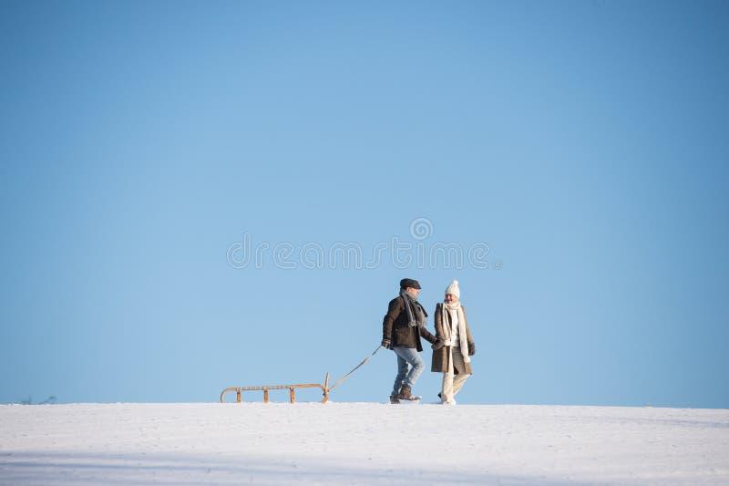 Schöne ältere Paare auf einem Weg, der Schlitten, Wintertag zieht stockbild