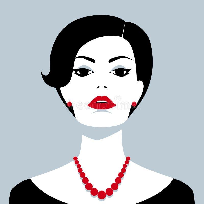 Schöne überzeugte Frau mit roter Perle lizenzfreie abbildung