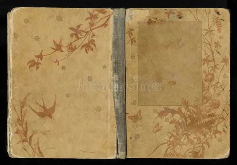 Schöne Abdeckung eines Weinlesebuches mit Blumenrahmen ein leerer Aufkleber für Ihren Text lizenzfreies stockfoto