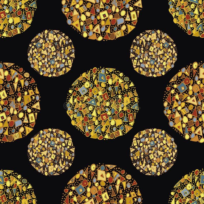 Schöne abstrakte Goldkreise aus Dreiecken, Quadraten und Punkten Nahtloses Vektormuster auf schwarzem Hintergrund stock abbildung