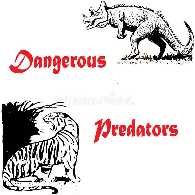 Schöne abstrakte Illustration von gefährlichen Fleischfressern, die Fleisch wie Tiger- und Dinosauriertyrannosaurus lieben lizenzfreie abbildung