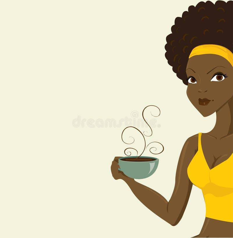 Schöne afrikanische Frauen mit coffe lizenzfreie abbildung