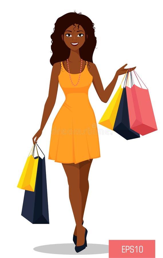 Schöne Afroamerikanerfrau mit Taschen Attraktives Karikaturmädchen im schönen gelben Kleid auf shopping spree lizenzfreie abbildung