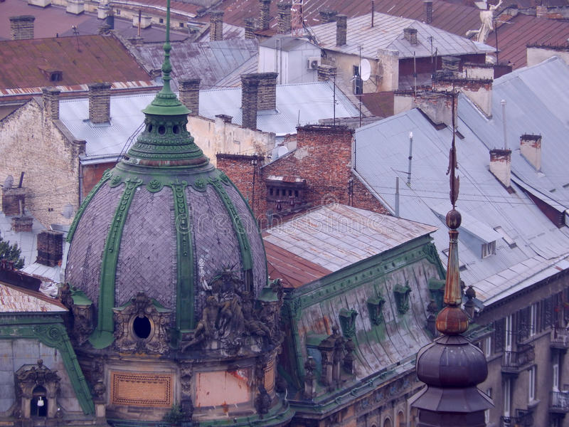 Schöne alte Stadt von Lemberg, Dächer von Altbauten lizenzfreies stockfoto