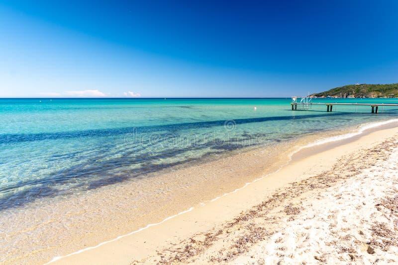 Schöne Ansicht über Pampelonne-Strand, Saint Tropez, französisches Riviera, Frankreich stockfoto