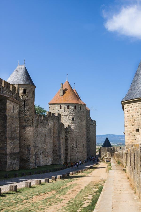 Schöne Ansicht der alten Stadt von Carcassone frankreich lizenzfreies stockfoto