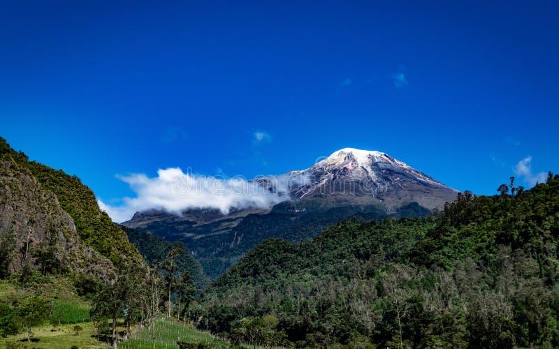 Schöne Ansicht der schneebedeckten Spitze A Tolima lizenzfreie stockfotografie