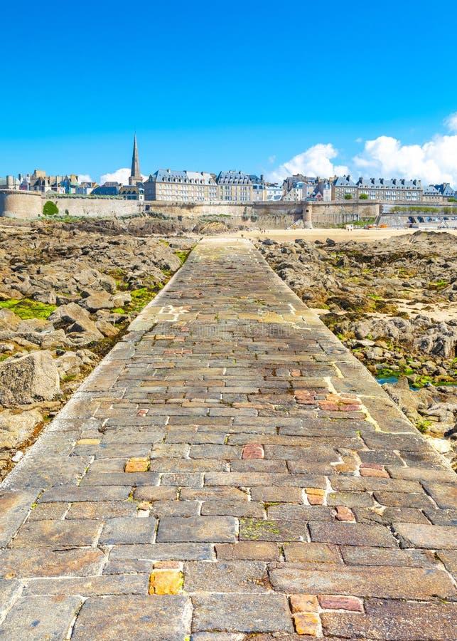 Schöne Ansicht der Stadt der Seeräuber - Saint Malo in Bretagne, Frankreich stockfoto