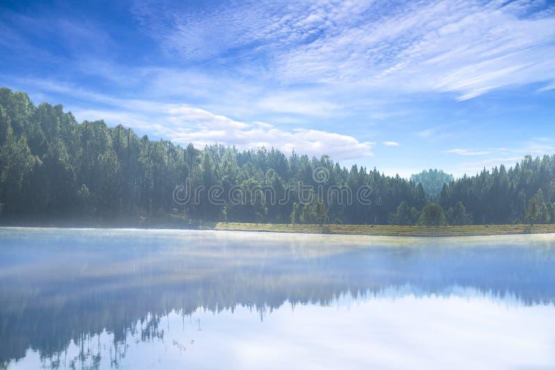 Schöne Ansicht des idyllischen bunten Herbstlandschaftsgipfels, der im haarscharfen See in Wat San Chan Forest Reservoir, Chiang  lizenzfreie stockfotos