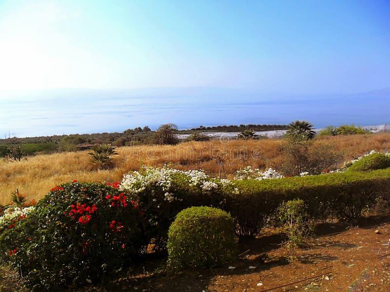Schöne Ansicht des Meeres von Galiläa, Tiberias, Berg von Blessed lizenzfreies stockbild