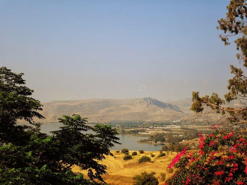 Schöne Ansicht des Meeres von Galiläa, Tiberias, Berg von Blessed stockfoto