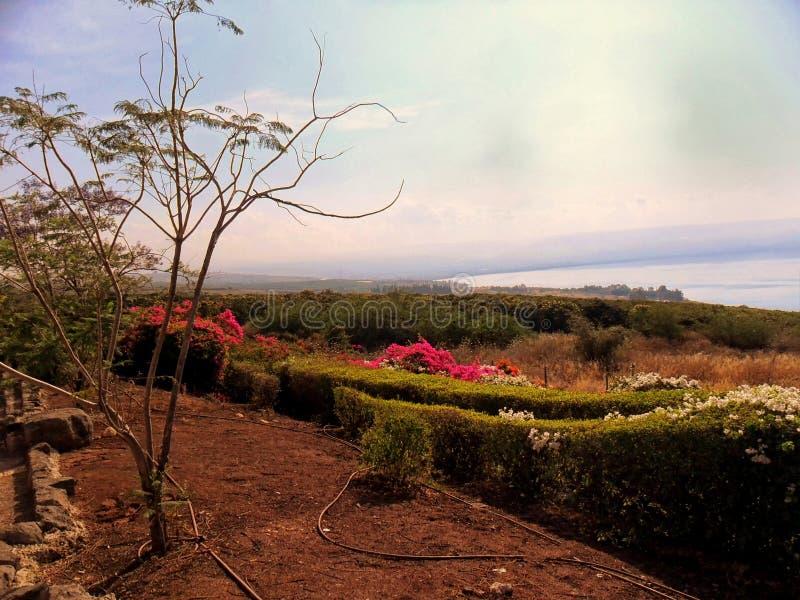 Schöne Ansicht des Meeres von Galiläa, Tiberias, Berg von Blessed lizenzfreie stockbilder