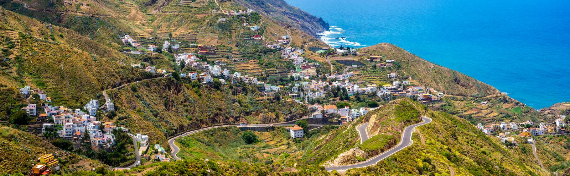 Schöne Ansicht des Taganana-Dorfs in Anaga-Bergen, Tener lizenzfreies stockbild