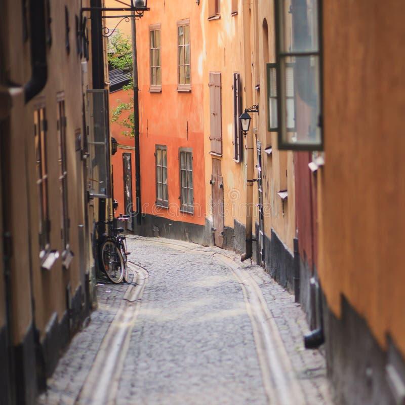 Schöne Ansicht Haupt-Gamla Stan alter Stadt Stockholms, Schweden lizenzfreies stockbild