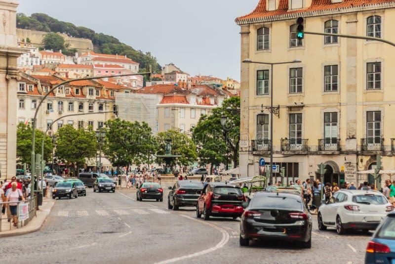 Schöne Ansicht in Rahmen von Lissabon Portugal lizenzfreies stockbild