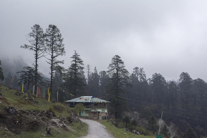 Sch?ne Ansicht unterwegs Yumthang-Tal, Sikkim, Indien lizenzfreie stockbilder
