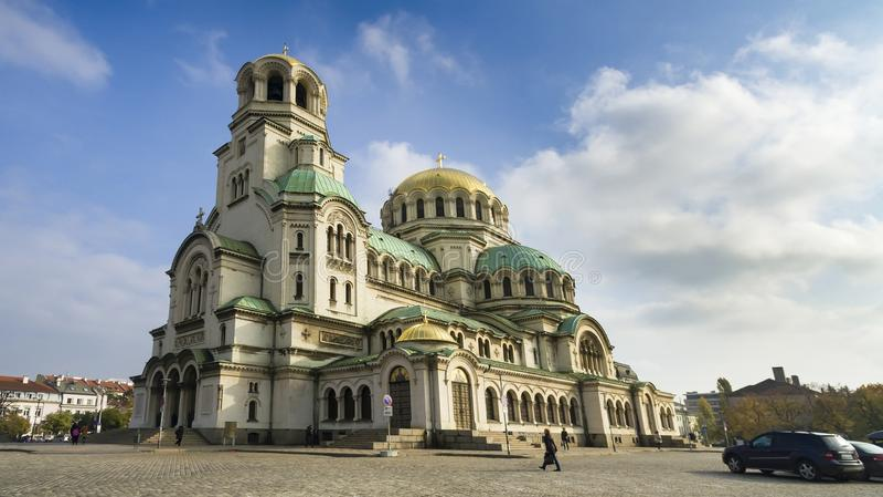 Schöne Ansicht von Alexander Nevsky Cathedral in Sofia lizenzfreie stockfotos