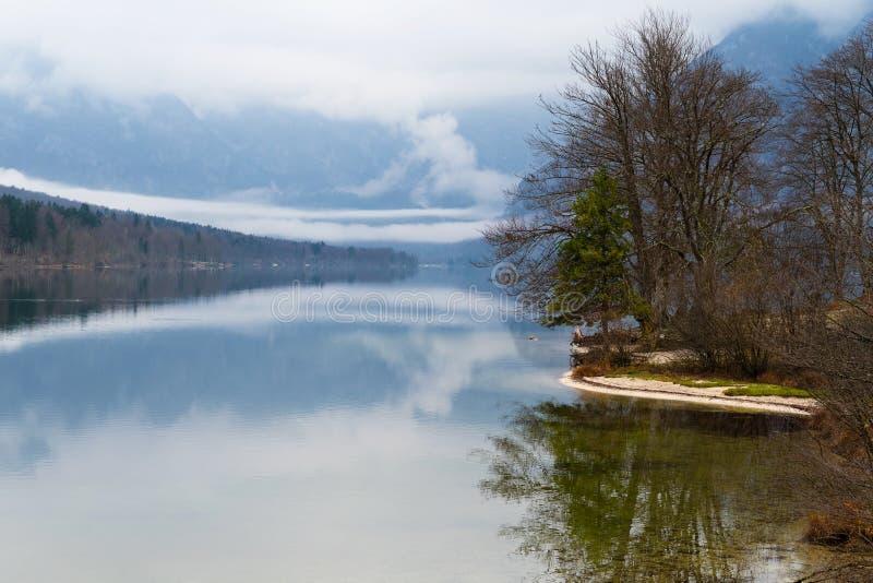 Schöne Ansicht von nebeligem See, von Ufer, von Bäumen und von umgebenden Bergen stockfotografie