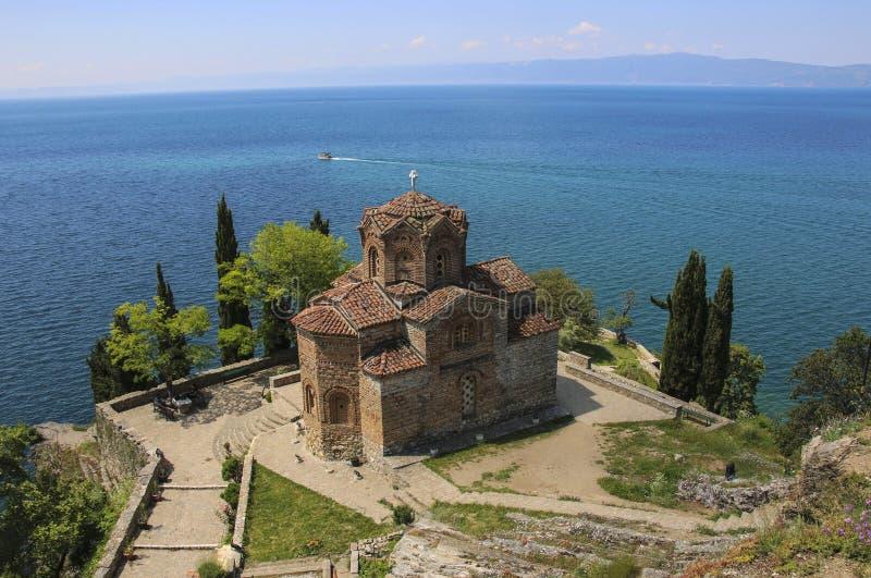 Schöne Ansicht von Saint John bei Kaneo, mazedonische orthodoxe Kirche, Ohrid, Republik von Nord-Mazedonien stockfotografie