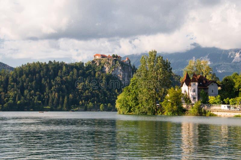 Schöne Ansicht zum Schloss und zum See blutete, Stadt von Bled, Slowenien stockfotos