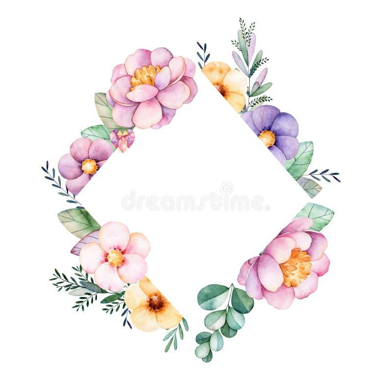 Schöne Aquarellrauten-Rahmengrenze mit Pfingstrose, Blume, Laub, Niederlassungen vektor abbildung