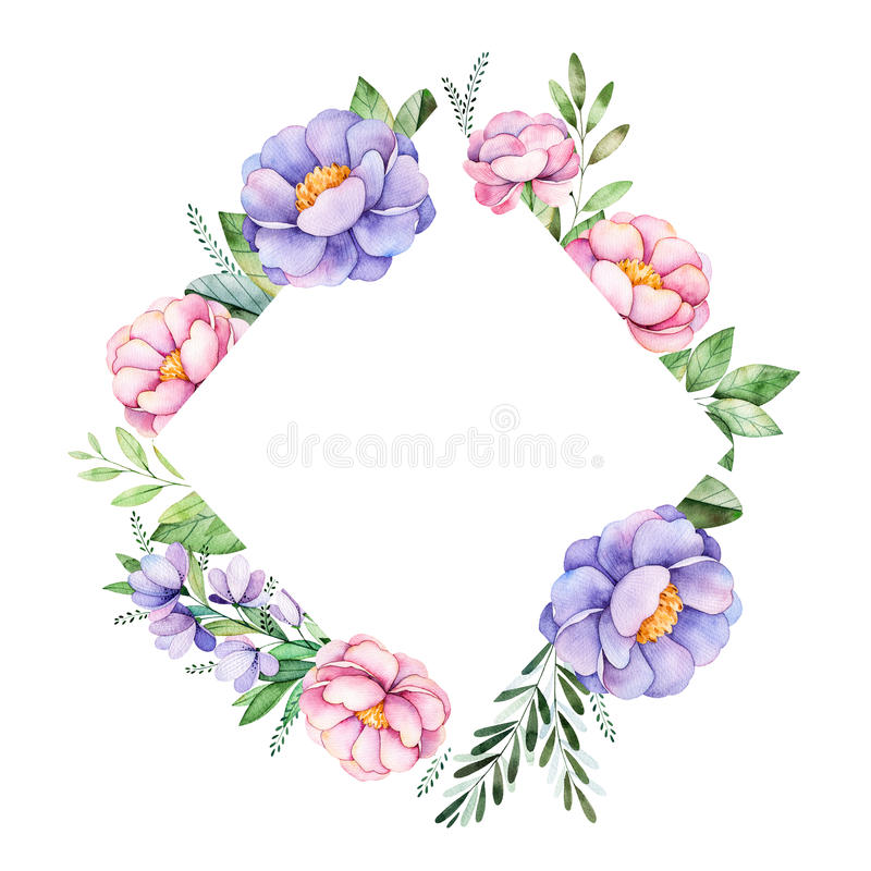Schöne Aquarellrauten-Rahmengrenze mit Pfingstrose, Blume, Laub, Niederlassungen und mehr stock abbildung