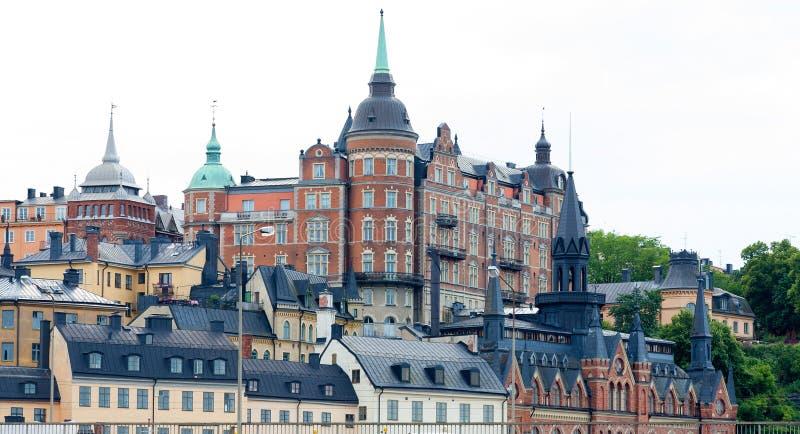 Schöne Architektur in der alten Stadt von Stockholm lizenzfreies stockfoto