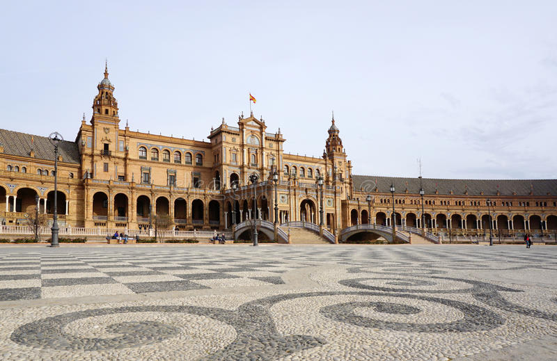 Schöne Architektur von Gebäude Plaza de España mit Spanischen stockbild