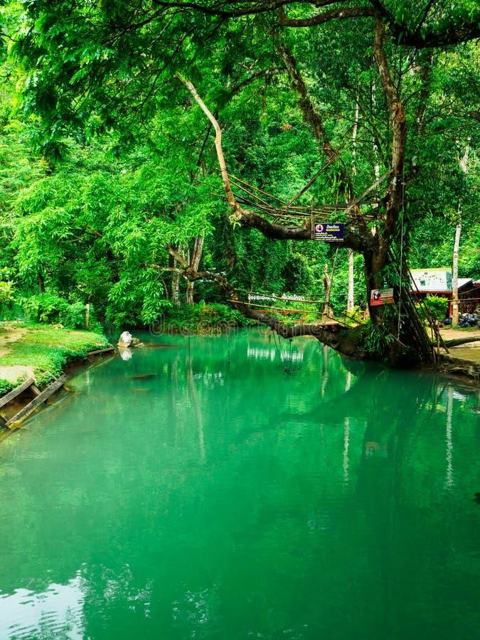 Schöne Art blauen Lagune Vang-vieng Laos stockbild