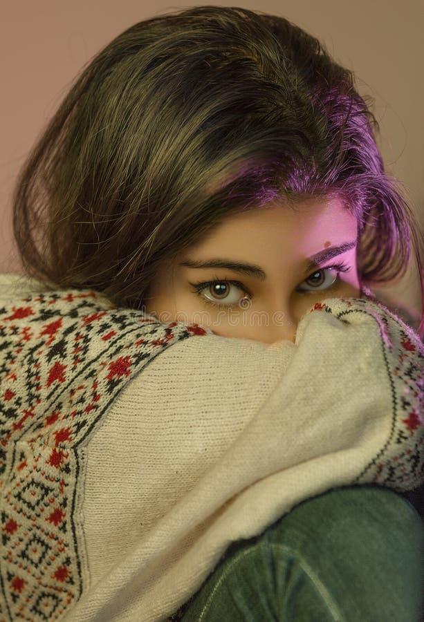 Schöne Augen mit den rosa Höhepunkten, die Kamera betrachten stockfotografie