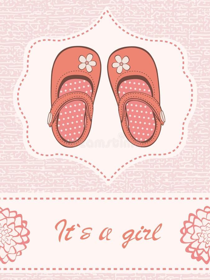 Schöne Babymitteilungskarte mit schönen Schuhen lizenzfreie abbildung