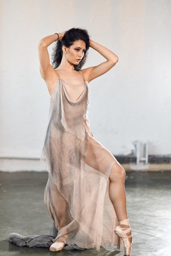 Schöne Ballerina im grauen losen langen transparenten Porträt des Stadiums Kleider lizenzfreie stockfotografie