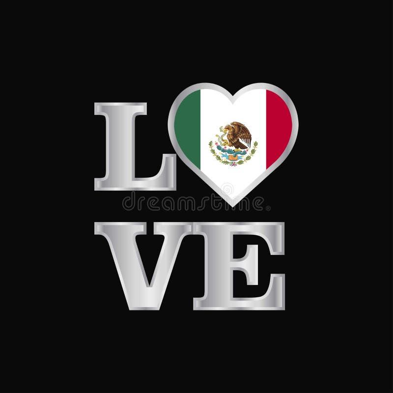 Schöne Beschriftung des Liebestypographie Mexiko-Flaggenentwurfs-Vektors lizenzfreie abbildung