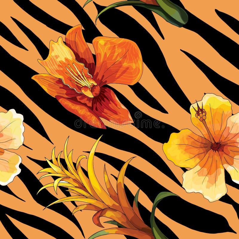 Schöne blühende Blume auf Tierhaut Muster-Vektordruck des Tigers nahtloser vektor abbildung