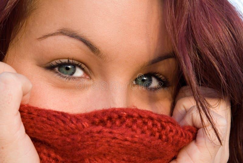 Schöne blaue Augen, Frau lizenzfreies stockbild