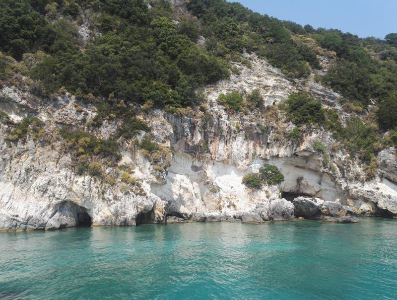 Schöne blaue Höhlen, Keri höhlt, Zakynthos, Griechenland aus stockbilder